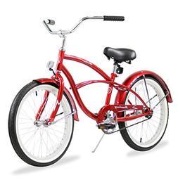 "Firmstrong Urban Boy 20"" Beach Cruiser Bicycle, Red"