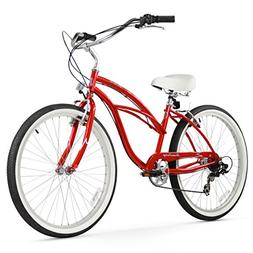 "Firmstrong Urban Lady 7-Speed 26"" Beach Cruiser Bicycle, Red"