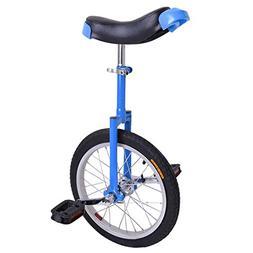 16-inch Wheel Aluminum Rim Steel Fork Frame Unicycle Blue w/
