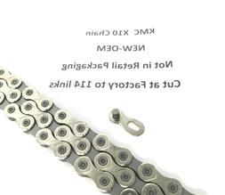 KMC X10 10 Speed MTB-Road Bike Chain, 114 Links Silver, w/ C