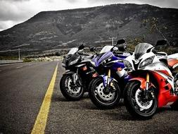 Yamaha R6 Sports Bikes Motorcycle Mountains Road Wall Print
